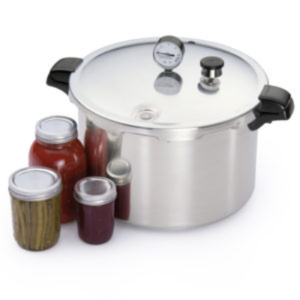 Pressure Canner with pickled beans, jelly & Tomatoes