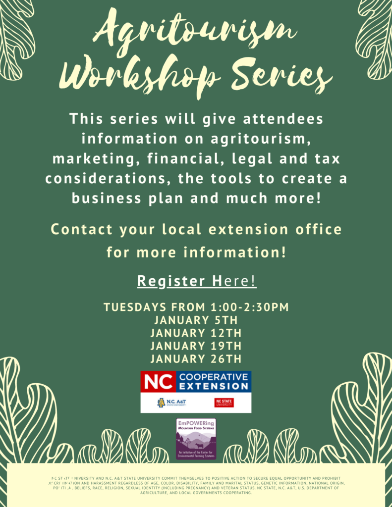Agritourism Workshop Series flyer