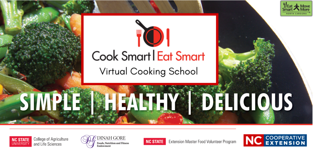 Cook Smart Eat Smart Logo with broccoli, carrots & peppers in the background.