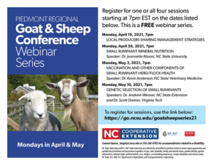 Cover photo for 2021 Piedmont Sheep and Goat Conference Webinar Series
