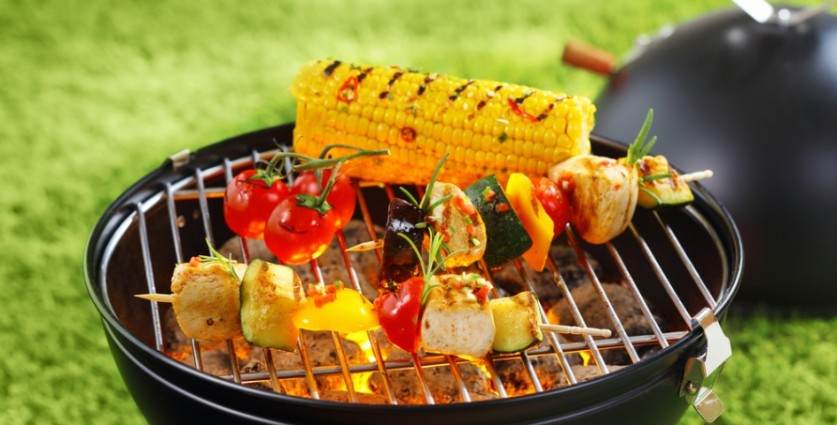 Corn, Tomatoes, kebabs