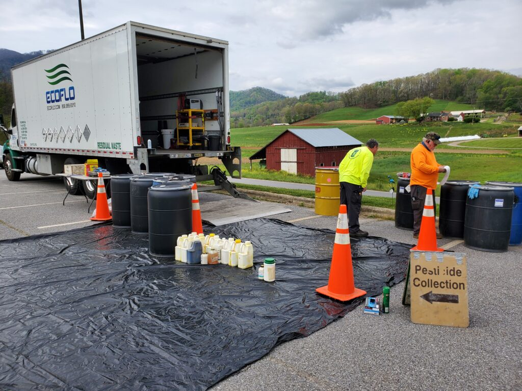 Truck collecting psticides